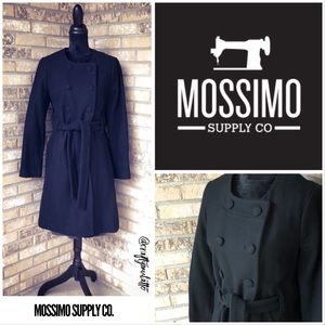 Retro Mossimo Collarless Double Breasted Wool Coat